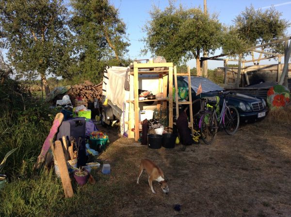 """the shithole that is our life"" all our stuff piled up while camping out at Tío's"